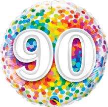 "90 Rainbow Confetti Foil Balloon (18"") 1pc"